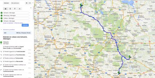 Parcours de chercheur en kilomètre: Schwerin - Cottbus- Moriztburg
