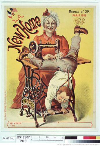 Illustration : La New Home [machine à coudre] : médaille d'or, Paris 1889 : [affiche] / [non identifié] sur Gallica